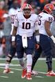 Nov 9, 2013; College Park, MD, USA; Syracuse Orange quarterback Terrel Hunt (10) runs the offense against the Maryland Terrapins at Byrd Stadium. Mandatory Credit: Mitch Stringer-USA TODAY Sports