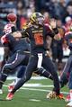 Nov 9, 2013; College Park, MD, USA; Maryland Terrapins quarterback C.J. Brown (16) passes against the Syracuse Orange at Byrd Stadium. Mandatory Credit: Mitch Stringer-USA TODAY Sports