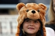 Nov 9, 2013; Berkeley, CA, USA; Seven year of Ava Lawrence in a bear hat during the fourth quarter between the California Golden Bears and the USC Trojans at Memorial Stadium. The USC Trojans defeated the California Golden Bears 62-28. Mandatory Credit: Kelley L Cox-USA TODAY Sports