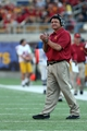 Nov 9, 2013; Berkeley, CA, USA; USC Trojans interim head coach Ed Orgeron claps on the sideline in the final moments of the game against the California Golden Bears during the fourth quarter at Memorial Stadium. The USC Trojans defeated the California Golden Bears 62-28. Mandatory Credit: Kelley L Cox-USA TODAY Sports