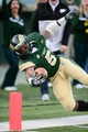 Nov 9, 2013; Fort Collins, CO, USA; Colorado State Rams running back Kapri Bibbs (5) reaches for the end zone pylon in the fourth quarter against the Nevada Wolf Pack at Hughes Stadium. The Rams defeated the Wolf Pack 38-17.Mandatory Credit: Ron Chenoy-USA TODAY Sports