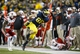 Nov 9, 2013; Ann Arbor, MI, USA; Michigan Wolverines tight end Jake Butt (88) is forced out of bounds by Nebraska Cornhuskers cornerback Stanley Jean-Baptiste (16) in the second half at Michigan Stadium. Nebraska won 17-13. Mandatory Credit: Rick Osentoski-USA TODAY Sports