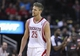 Nov 9, 2013; Houston, TX, USA; Houston Rockets small forward Chandler Parsons (25) reacts after a play during the third quarter against the Los Angeles Clippers at Toyota Center. The Clippers defeated the Rockets 107-94. Mandatory Credit: Troy Taormina-USA TODAY Sports