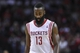 Nov 9, 2013; Houston, TX, USA; Houston Rockets shooting guard James Harden (13) reacts after a play during the fourth quarter against the Los Angeles Clippers at Toyota Center. Mandatory Credit: Troy Taormina-USA TODAY Sports