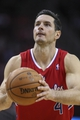 Nov 9, 2013; Houston, TX, USA; Los Angeles Clippers shooting guard J.J. Redick (4) attempts a free throw during the fourth quarter against the Houston Rockets at Toyota Center. Mandatory Credit: Troy Taormina-USA TODAY Sports