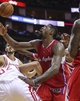 Nov 9, 2013; Houston, TX, USA; Los Angeles Clippers center DeAndre Jordan (6) attempts to get a rebound during the fourth quarter against the Houston Rockets at Toyota Center. The Clippers defeated the Rockets 107-94. Mandatory Credit: Troy Taormina-USA TODAY Sports