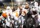 Nov 9, 2013; Morgantown, WV, USA; Texas Longhorns cornerback Leroy Scott (31) celebrates with teammates after beating the West Virginia Mountaineers 47-40 in overtime at Milan Puskar Stadium. Mandatory Credit: Evan Habeeb-USA TODAY Sports