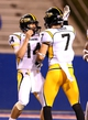 Nov 9, 2013; Ruston, LA, USA; Southern Miss Golden Eagles quarterback Nick Mullens (14) celebrates with wide receiver Kyle Sloter (7) after his fourth quarter touchdown catch against the Louisiana Tech Bulldogs at Joe Aillet Stadium. Mandatory Credit: Chuck Cook-USA TODAY Sports