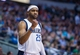 Nov 2, 2013; Dallas, TX, USA; Dallas Mavericks shooting guard Vince Carter (25) celebrates a basket against the Memphis Grizzlies during the game at the American Airlines Center. The Mavericks defeated the Grizzlies 111-99. Mandatory Credit: Jerome Miron-USA TODAY Sports