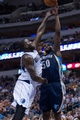 Nov 2, 2013; Dallas, TX, USA; Memphis Grizzlies power forward Zach Randolph (50) shoots over Dallas Mavericks center DeJuan Blair (45) during the game at the American Airlines Center. The Mavericks defeated the Grizzlies 111-99. Mandatory Credit: Jerome Miron-USA TODAY Sports