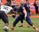Nov 2, 2013; Syracuse, NY, USA; Syracuse Orange offensive tackle Sean Hickey (60) blocks Wake Forest Demon Deacons defensive end Tylor Harris (36) during the fourth quarter of a game at the Carrier Dome. Syracuse won the game 13-0. Mandatory Credit: Mark Konezny-USA TODAY Sports