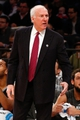 Nov 10, 2013; New York, NY, USA;  San Antonio Spurs head coach Gregg Popovich reacts during the first quarter against the New York Knicks at Madison Square Garden. Mandatory Credit: Anthony Gruppuso-USA TODAY Sports