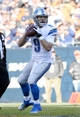 Nov 10, 2013; Chicago, IL, USA; Detroit Lions quarterback Matthew Stafford (9) drops back to pass against the Chicago Bears during the second half at Soldier Field. Detroit defeats Chicago 21-19. Mandatory Credit: Mike DiNovo-USA TODAY Sports