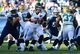 Nov 10, 2013; Nashville, TN, USA; Jacksonville Jaguars quarterback Chad Henne (7) drops back to hand off against the Tennessee Titans during the frist half at LP Field. The Jaguars beat the Titans 29-27. Mandatory Credit: Don McPeak-USA TODAY Sports
