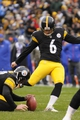 Nov 10, 2013; Pittsburgh, PA, USA; Pittsburgh Steelers kicker Shaun Suisham (6) kicks an extra point during the third quarter of a game against the Buffalo Bills at Heinz Field. Pittsburgh won the game 23-10. Mandatory Credit: Mark Konezny-USA TODAY Sports