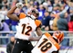 Nov 10, 2013; Baltimore, MD, USA; Cincinnati Bengals wide receiver A.J. Green (18) is congratulated by wide receiver Mohamed Sanu (12) after catching a 51 yard touchdown pass as time expired against the Baltimore Ravens at M&T Bank Stadium. Mandatory Credit: Evan Habeeb-USA TODAY Sports