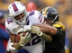 Nov 10, 2013; Pittsburgh, PA, USA; Buffalo Bills running back Fred Jackson (22) carries the ball against Pittsburgh Steelers defensive end Cameron Heyward (97) during the fourth quarter at Heinz Field. The Pittsburgh Steelers won 23-10.  Mandatory Credit: Charles LeClaire-USA TODAY Sports