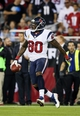 Nov 10, 2013; Phoenix, AZ, USA; Houston Texans wide receiver Andre Johnson (80) reacts after catching a touchdown pass during the second half against the Arizona Cardinals at University of Phoenix Stadium. Arizona won 27-24. Mandatory Credit: Kevin Jairaj-USA TODAY Sports