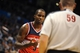 Nov 10, 2013; Oklahoma City, OK, USA; Washington Wizards small forward Martell Webster (9) protests a call with NBA official Gary Zielinski during the third quarter at Chesapeake Energy Arena. Mandatory Credit: Mark D. Smith-USA TODAY Sports