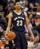 Nov 10, 2013; Phoenix, AZ, USA; New Orleans Pelicans power forward Anthony Davis (23) reacts to a call during the third quarter against the Phoenix Suns at US Airways Center. The Suns beat the Pelicans 101-94. Mandatory Credit: Casey Sapio-USA TODAY Sports