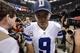 Nov 10, 2013; New Orleans, LA, USA; Dallas Cowboys quarterback Tony Romo (9) walks to the locker room  following their 49-17 loss to the New Orleans Saints at Mercedes-Benz Superdome. Mandatory Credit: John David Mercer-USA TODAY Sports