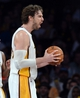 Nov 10, 2013; Los Angeles, CA, USA;  Los Angeles Lakers center Pau Gasol (16) reacts to a foul in the second half of the game against the Minnesota Timberwolvess at Staples Center. Timberwolves won 113-90. Mandatory Credit: Jayne Kamin-Oncea-USA TODAY Sports