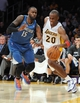 Nov 10, 2013; Los Angeles, CA, USA;  Minnesota Timberwolves small forward Shabazz Muhammad (15) guards Los Angeles Lakers shooting guard Jodie Meeks (20) in the second half of the game at Staples Center. Timberwolves won 113-90. Mandatory Credit: Jayne Kamin-Oncea-USA TODAY Sports
