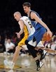 Nov 10, 2013; Los Angeles, CA, USA; Minnesota Timberwolves point guard Alexey Shved (1) and Los Angeles Lakers point guard Steve Blake (5) in the second half of the game at Staples Center. Timberwolves won 113-90. Mandatory Credit: Jayne Kamin-Oncea-USA TODAY Sports