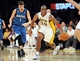 Nov 10, 2013; Los Angeles, CA, USA;  Los Angeles Lakers shooting guard Jodie Meeks (20) steals the ball from Minnesota Timberwolves point guard Alexey Shved (1) in the second half of the game at Staples Center. Timberwolves won 113-90. Mandatory Credit: Jayne Kamin-Oncea-USA TODAY Sports