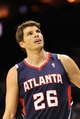 Nov 11, 2013; Charlotte, NC, USA; Atlanta Hawks forward guard Kyle Korver (26) against the Charlotte Bobcats at Time Warner Cable Arena. Mandatory Credit: Sam Sharpe-USA TODAY Sports
