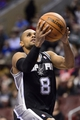 Nov 11, 2013; Philadelphia, PA, USA; San Antonio Spurs guard Patty Mills (8) shoots during the fourth quarter against the Philadelphia 76ers at Wells Fargo Center. The Spurs defeated the Sixers 109-85. Mandatory Credit: Howard Smith-USA TODAY Sports