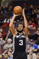Nov 11, 2013; Philadelphia, PA, USA; San Antonio Spurs guard Marco Belinelli (3) shoots a jump shot during the fourth quarter against the Philadelphia 76ers at Wells Fargo Center. The Spurs defeated the Sixers 109-85. Mandatory Credit: Howard Smith-USA TODAY Sports