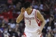 Nov 11, 2013; Houston, TX, USA; Houston Rockets point guard Jeremy Lin (7) celebrates after scoring during the fourth quarter against the Toronto Raptors at Toyota Center. The Rockets won 110-104. Mandatory Credit: Andrew Richardson-USA TODAY Sports