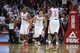 Nov 11, 2013; Houston, TX, USA; Houston Rockets point guard Jeremy Lin (7) celebrates after making a shot during the second overtime period at Toyota Center. Mandatory Credit: Andrew Richardson-USA TODAY Sports