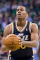 Nov 11, 2013; Salt Lake City, UT, USA; Utah Jazz point guard Alec Burks (10) shoots a free throw during the second half against the Denver Nuggets at EnergySolutions Arena. Denver won 100-81. Mandatory Credit: Russ Isabella-USA TODAY Sports