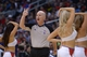 Nov 11, 2013; Los Angeles, CA, USA; NBA referee Joey Crawford walks though a Los Angeles Clippers spirit cheerleader formation during the game against the Minnesota Timberwolves at Staples Center. Mandatory Credit: Kirby Lee-USA TODAY Sports