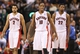 Nov 5, 2013; Toronto, Ontario, CAN; Toronto Raptors guard DeMar DeRozan (10) and forward Rudy Gay (22) and forward Landry Fields (2) walk to their positions against the Miami Heat at Air Canada Centre. The Heat beat the Raptors 104-95. Mandatory Credit: Tom Szczerbowski-USA TODAY Sports