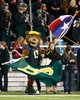 Nov 7, 2013; Waco, TX, USA; Baylor Bears mascot Bruiser waves the Texas state flag and the Baylor Bears flag during the game against the Oklahoma Sooners  at Floyd Casey Stadium. Baylor beat Oklahoma 41-12. Mandatory Credit: Tim Heitman-USA TODAY Sports
