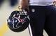 Nov 10, 2013; Phoenix, AZ, USA; Houston Texans helmet during the game against the Arizona Cardinals at University of Phoenix Stadium. Arizona won 27-24. Mandatory Credit: Kevin Jairaj-USA TODAY Sports