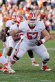 Nov 2, 2013; Charlottesville, VA, USA; Clemson Tigers center Jay Guillermo (57) blocks against the Virginia Cavaliers at Scott Stadium. Mandatory Credit: Geoff Burke-USA TODAY Sports