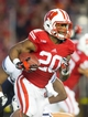 Nov 9, 2013; Madison, WI, USA; Wisconsin Badgers running back James White (20) during the game against the Brigham Young Cougars at Camp Randall Stadium. Wisconsin won 27-17.  Mandatory Credit: Jeff Hanisch-USA TODAY Sports