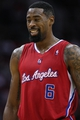 Nov 9, 2013; Houston, TX, USA; Los Angeles Clippers center DeAndre Jordan (6) reacts after a play during the third quarter against the Houston Rockets at Toyota Center. Mandatory Credit: Troy Taormina-USA TODAY Sports