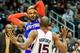 Nov 13, 2013; Atlanta, GA, USA; New York Knicks small forward Carmelo Anthony (7) keeps the ball away from Atlanta Hawks center Al Horford (15) in the first half at Philips Arena. Mandatory Credit: Daniel Shirey-USA TODAY Sports