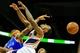 Nov 13, 2013; Atlanta, GA, USA; Atlanta Hawks point guard Jeff Teague (0) is fouled by New York Knicks power forward Kenyon Martin (3) in the second half at Philips Arena. The Knicks won 95-91. Mandatory Credit: Daniel Shirey-USA TODAY Sports