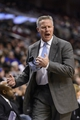 Nov 13, 2013; Philadelphia, PA, USA; Philadelphia 76ers head coach Brett Brown reacts to a call during the fourth quarter against the Houston Rockets at Wells Fargo Center. The Sixers defeated the Rockets 123-117. Mandatory Credit: Howard Smith-USA TODAY Sports