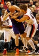 Nov 13, 2013; Portland, OR, USA; Phoenix Suns center Miles Plumlee (22) and Portland Trail Blazers center Robin Lopez (42) fight for the ball at the Moda Center. Mandatory Credit: Craig Mitchelldyer-USA TODAY Sports