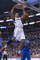Nov 13, 2013; Los Angeles, CA, USA; Los Angeles Clippers center Ryan Hollins (15) dunks the ball against the Oklahoma City Thunder at Staples Center. The Clippers defeated the Thunder 111-103. Mandatory Credit: Kirby Lee-USA TODAY Sports
