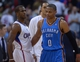Nov 13, 2013; Los Angeles, CA, USA; Los Angeles Clippers guard Chris Paul (3) and Oklahoma City Thunder guard Russell Westbrook (0) after the game at Staples Center. The Clippers defeated the Thunder 111-103. Mandatory Credit: Kirby Lee-USA TODAY Sports