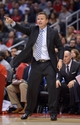 Nov 13, 2013; Los Angeles, CA, USA; Oklahoma City Thunder coach Scott Brooks reacts in the second half against the Los Angeles Clippers at Staples Center. Mandatory Credit: Kirby Lee-USA TODAY Sports