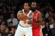Nov 14, 2013; New York, NY, USA; New York Knicks shooting guard J.R. Smith (8) controls the ball against Houston Rockets shooting guard James Harden (13) during the second quarter of a game at Madison Square Garden. Mandatory Credit: Brad Penner-USA TODAY Sports